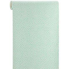 Polka is een schattig vliesbehang witte polkadots op een mintgroene achtergrond. Kleur: mint/wit.