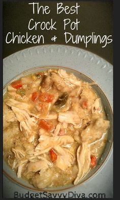 The Best Crock Pot Chicken and Dumplings Recipe Easy Crockpot Chicken and Dumplings. This recipe is a favorite in our house! Crock Pot Food, Crockpot Dishes, Crock Pots, Slow Cooker Recipes, Crockpot Recipes, Cooking Recipes, Cookbook Recipes, Healthy Recipes, Cooking Tips