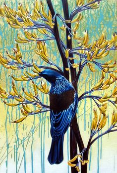 Miranda Woollett NZ artist - Tui in Mountain Flax. Tui Bird, New Zealand Art, Nz Art, Maori Art, Kiwiana, Bird Art, Beautiful Birds, Contemporary Artists, Painting & Drawing
