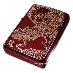 Zippo Lighter Red Dragon S Ion Red Coating Etching Gold From Japan New