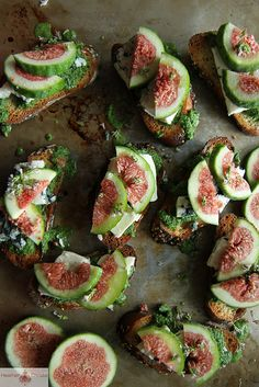 Fig Crostini with Arugula Pesto, Blue Cheese and Fresh Figs by Heather Christo, via Flickr