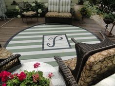 """10 Back Deck """"Decorating"""" Ideas on a Budget {{paint a deck rug, 2 shown}} Painted Wooden Floors, Painted Rug, Wooden Flooring, Painted Monogram, Painted Decks, Cement Floors, Hardwood Floors, Hand Painted, Outdoor Rugs"""