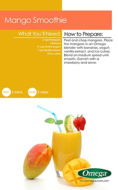 Put your Omega Blender to work for Mango Season!  Delicious & refreshing Mango Smoothies with Omega Juicers!