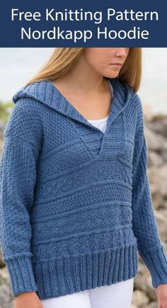 Free Sweater Knitting Pattern Nordkapp Hoodie Jumper Long-sleeved hooded pullover sweater features textured sampler patterns reminiscent of Gansey stitches. Sizes Woman's S through 2XL. Designed by Lena Skvagerson. DK weight yarn. Easy Sweater Knitting Patterns, Hooded Scarf Pattern, Hoodie Pattern, Hooded Sweater, Knit Patterns, Jumper Patterns, Free Knitting, Knitted Jackets Women, Chucky