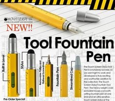 The Monteverde One Touch Tool pen brings 9 tools in one premium quality writing instrument!