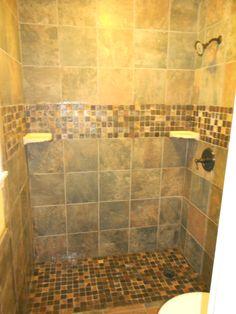 brown multi color tile shower