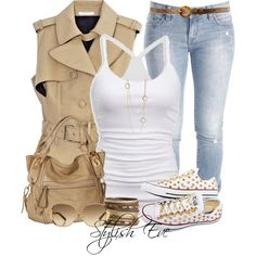 Stylish beige vest with jeans and white top Fall Winter Outfits, Autumn Winter Fashion, Spring Outfits, Spring Fashion, Spring Clothes, Winter Clothes, Women's Clothes, Cool Outfits, Casual Outfits