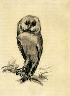 I love Van Gogh, and I LOVE owls! Never knew of this piece!never had a clue he did this piece. I I love it because it reminds me of my grandma who adored owls. Barn Owl Viewed from the Front, 1887 Vincent van Gogh Vincent Van Gogh, Van Gogh Drawings, Van Gogh Paintings, Van Gogh Museum, Art Van, Van Gogh Zeichnungen, Van Gogh Arte, Paul Gauguin, Famous Artists
