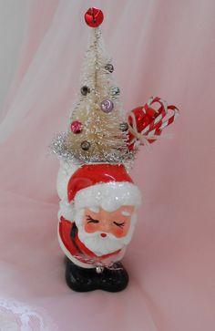 Vintage Santa Clause Bottle Brush