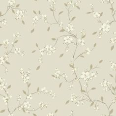Bella Floral Wallpaper in Pewter by Ronald Redding for York Wallcoverings