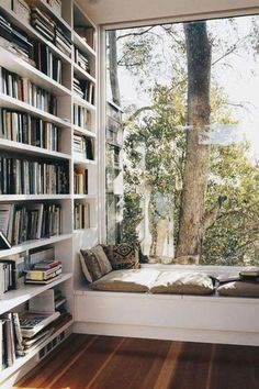 Home library. Window seat, pillows, best reading corner with many books. Home Library Rooms, Home Library Design, Home Libraries, Dream Home Design, My Dream Home, Home Interior Design, Dream Library, Home Study Design, Home Library Decor