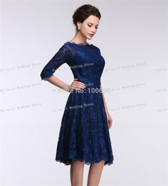Custom Made Short Lace Evening Gown 2015 Bateau Cheap Party Clothing Half Sleeve Fashion A-line Formal Pageant Evening Dresses