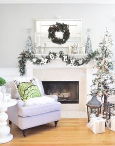 Silver and white Christmas mantel by Centsational Girl!   From The Home Depot Style Challenge