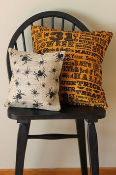Lined Burlap Fall Seasonal Halloween Pillow Cover - Spider 12 x 12 on Etsy, $13.00