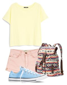"""Be teen"" by andreastoessel ❤ liked on Polyvore featuring moda, Current/Elliott, MANGO, Mudd i Converse"