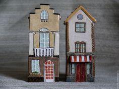 Сувенир Домик - комбинированный, дом, домик, керамика ручной работы, керамическая фигурка, керамика