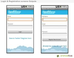 Android Login and Registration Screen Design