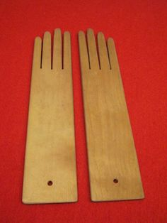 Pair of Wooden Wood Glove Dryers Stretchers Forms   eBay  sold  63.00