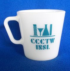RARE PYREX CORNING Lab Ware CCCTW INSL Mug Cup Slant Handle Greenish Blue Teal