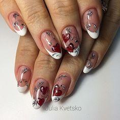 Nail Art nail art x san valentino Xmas Nail Art, Valentine Nail Art, Xmas Nails, Fall Nail Art, Bright Nail Designs, Cute Nail Art Designs, Black Nail Designs, Cute Gel Nails, Fancy Nails