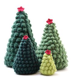 Crocheted Christmas Trees - link in Matt's blog to Ravelry page for pattern (not free)