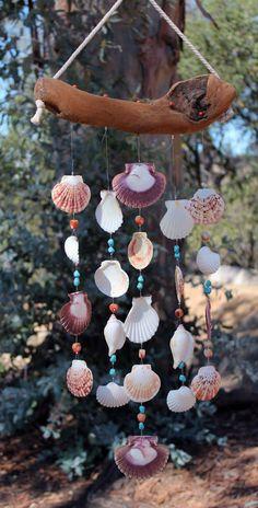 Driftwood Seashell Wind Chimes, Sea Shell Wind Chimes, Wind Chimes, Seashell Mobile, Patio Decor, Outdoor Mobile, BeachWedding Gift, Shells