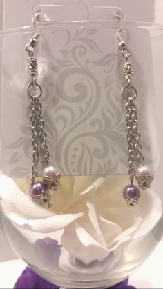 Pink and lavender pearl, dangle earrings