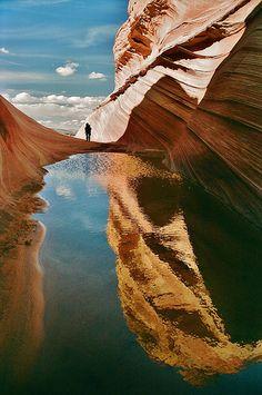 Rain Pool Reflection - Coyote Buttes, Arizona