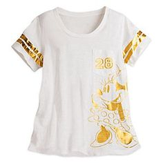 Minnie Mouse Varsity Tee for Women | Disney Store The path to victory will be paved in gold when wearing Minnie's fashionable football jersey tee with soft slubbed fabric, chest pocket, and varsity-style graphics in a golden hue.