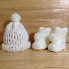 Baby Girl Knit Beanie & Crochet Bootie Boots Combo White with Pom Pom Accent   at Dis Lil Treasures, $26.95