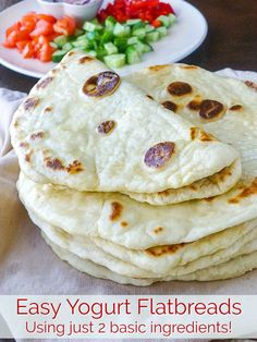 A quick easy recipe for light, fluffy delicious flatbreads us… Yogurt Flatbreads. A quick easy recipe for light, fluffy delicious flatbreads using 2 basic ingredients, that you can make in mere minutes. Ww Recipes, Mexican Food Recipes, Vegetarian Recipes, Cooking Recipes, Healthy Recipes, Recipies, Quick Recipes, Turkish Recipes, Cream Recipes