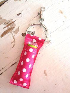 Chapstick Holder Keychain- Pink Polka Dot