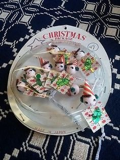 VINTAGE-CHRISTMAS-PACKAGE-Tie-Ons-Elves-Spun-Cotton-Head