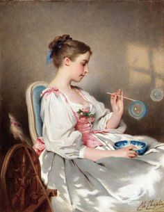 "Painting of the Day! Charles Chaplin (1825-1891) ""Blowing Bubbles"" Oil on canvas, - To see more works by this artist please visit: http://www.artrenewal.org/pages/artwork.php?artworkid=11376&size=large"