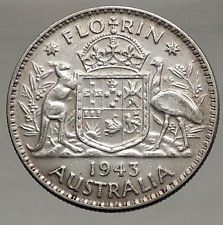 1943 AUSTRALIA - FLORIN Large SILVER Coin King George VI Coat-of-Arms i56698