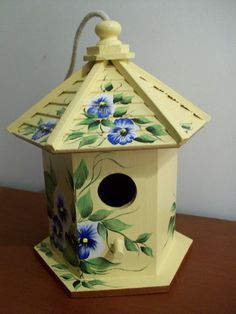 White and blue pansy hand painted birdhouse by karenskraftsandmore, $15.00