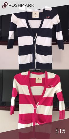 Hollister Cardigans Mid-sleeve hollister cardigans. Navy blue and white cardigan is size XS and pink and white cardigan is size S, $15 each Hollister Sweaters Cardigans