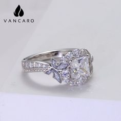 Princess Cut Engagement Rings Nature Style Butterfly Inspired Princess Cut Engagement Rings, Engagement Ring Cuts, Promise Rings, Band Rings, Butterfly, Wedding Rings, Inspired, Unique Jewelry, Nature
