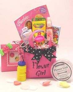 Flower girl gift basket- cute idea! need to make a ring bearer gift basket too