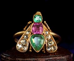 1870-80s Victorian Fly Ring, Emeralds, Ruby, Diamonds