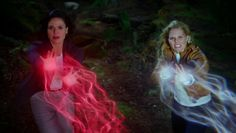 Awesome Regina and Emma (Lana and Jen) throwing awesome fireballs #Once S4 banner