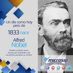Un día como hoy 21 de octubre pero de 1833 nace Alfred Nobel, inventor y químico sueco, famoso por la dinamita y por los premios que llevan su nombre.
