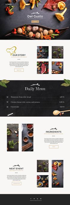 Del Gusto - Restaurant, Bar and Cafe Template on Behance For the best value website design in Australia visit my website... http://www.websolutionsaustralia.com.au. In the meanwhile this is quite interesting ....