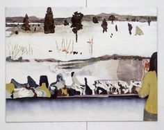Mamma Andersson » Tabby, Tacky, Taint, acrylic and oil on paper, David Zwirner Gallery