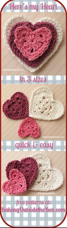 Crochet Tutorial Patterns Baking Outside the Box: Here's My Heart Crochet Pattern. Free and easy Valentine's pattern. - Grab your free copy of the 'Here's My Heart' crochet pattern. Love Crochet, Crochet Motif, Crochet Crafts, Crochet Yarn, Crochet Flowers, Crochet Stitches, Crochet Projects, Crochet Patterns, Crochet Appliques