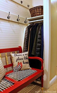 Turning a Hallway into a Mudroom - I like the hidden spot for coats