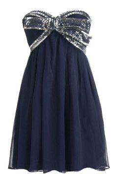 Midnight Icing Dress: Features a charming sweetheart neckline with structural padding and boning to the bodice, criss-crossed maze of sparkling silver sequins and beads circling the bust, lovely shirred chiffon fabric throughout, and an amazing twirl-worthy skirt to finish.