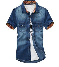 355281fd0a Aliexpress.com  Compre Camisa 2016 verão de alta qualidade de algodão marca  jeans para homens de manga curta Camisa Masculina de confiança shirt  flannel ...