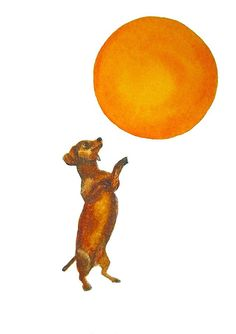 Dog watercolor print Dachshund Sun Dance by MarthaKuperBrinson, $15.00