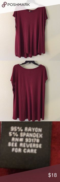 Swing top. Burgundy swing top. Sleeveless with a hi-low hem effect. Looks good with jeans and boots or leggings. I've also worn it with a simple black skirt and heels. Very versatile top. Length 29 inches and 25 arm pit to arm pit. Loved this top💖💜❤️💕💞 Premise Tops